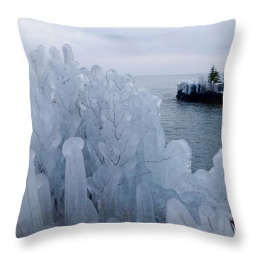 New Ice On Lake Superior Throw Pillow by Sandra Updyke