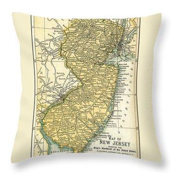 New Jersey Antique Map 1891 Throw Pillow