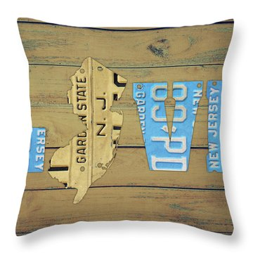 New Jersey License Plate State Love Phrase Sign Throw Pillow