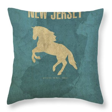 New Jersey State Facts Minimalist Movie Poster Art Throw Pillow