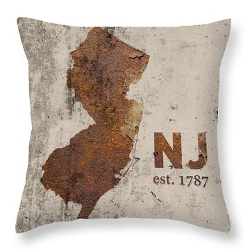 New Jersey State Map Industrial Rusted Metal On Cement Wall With Founding Date Series 026 Throw Pillow