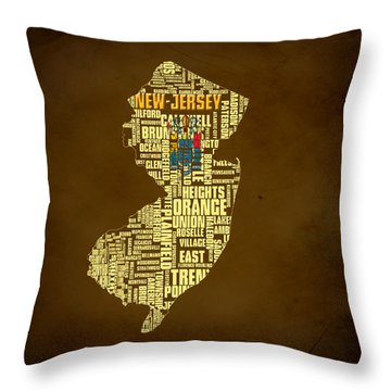 New Jersey Typographic Map 01 Throw Pillow