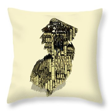 New Jersey Typographic Map 4d Throw Pillow