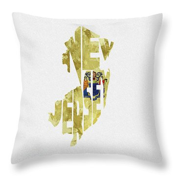 New Jersey Typographic Map Flag Throw Pillow