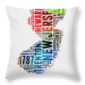 New Jersey Watercolor Word Cloud  Throw Pillow