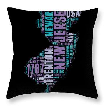 New Jersey Word Cloud 1 Throw Pillow