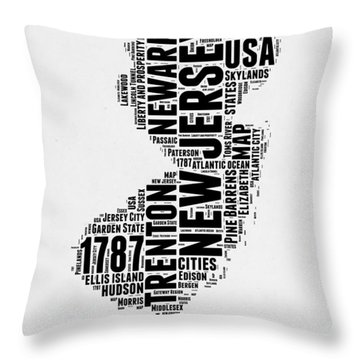New Jersey Word Cloud 2 Throw Pillow