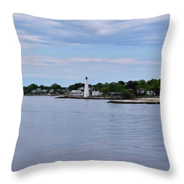 New London Harbor Lighthouse Throw Pillow