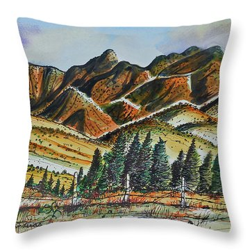 Throw Pillow featuring the painting New Mexico Back Country by Terry Banderas