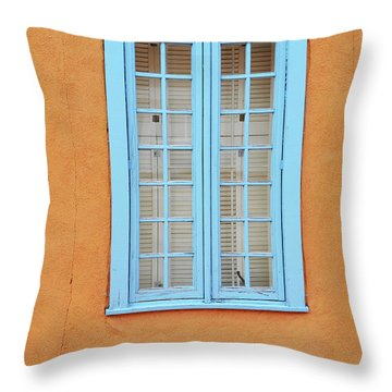 Throw Pillow featuring the photograph New Mexico Blue Window by Andrea Hazel Ihlefeld