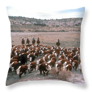 New Mexico Cattle Drive Throw Pillow by Jerry McElroy