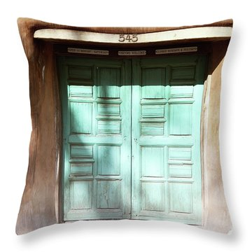 Throw Pillow featuring the photograph New Mexico Dreamy Rustic Door by Andrea Hazel Ihlefeld
