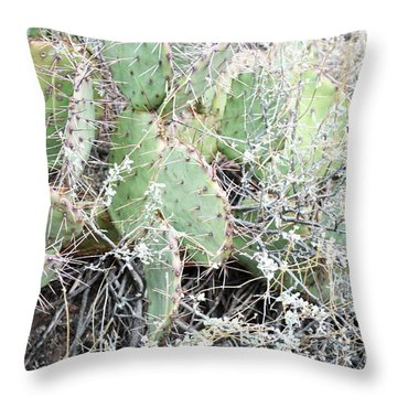 Throw Pillow featuring the photograph New Mexico Green Prickly Pear Cactus by Andrea Hazel Ihlefeld