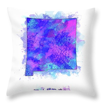 New Mexico Map Watercolor 2 Throw Pillow