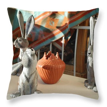 New Mexico Rabbits Throw Pillow by Rob Hans