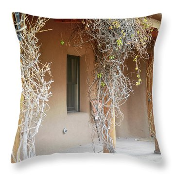 Throw Pillow featuring the photograph New Mexico Rustic Country Porch by Andrea Hazel Ihlefeld