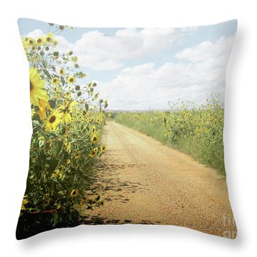 Throw Pillow featuring the photograph New Mexico Sunflower Road by Andrea Hazel Ihlefeld