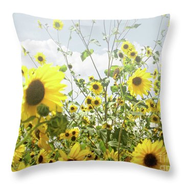Throw Pillow featuring the photograph New Mexico Sunflowers by Andrea Hazel Ihlefeld