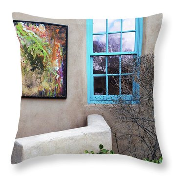 Throw Pillow featuring the photograph New Mexico Turquoise Window Landscape by Andrea Hazel Ihlefeld