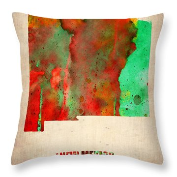 New Mexico Watercolor Map Throw Pillow by Naxart Studio
