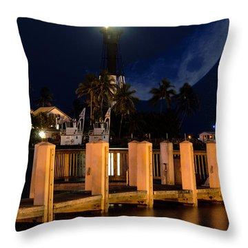 New Moon At Hillsboro Inlet Lighthouse Throw Pillow