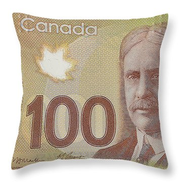 New One Hundred Canadian Dollar Bill Throw Pillow
