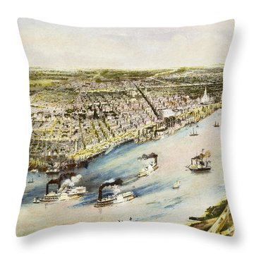 New Orleans, 1851 Throw Pillow by Granger