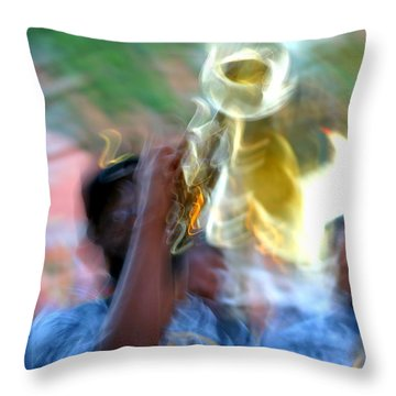 New Orleans Abstract Street Jazz Performance Throw Pillow