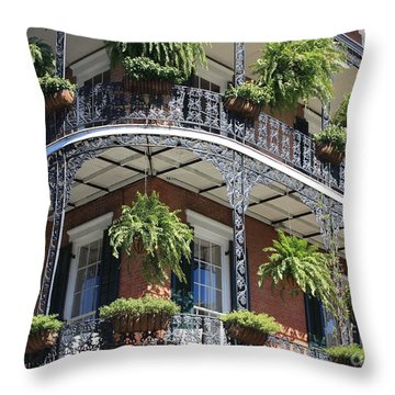 New Orleans Balcony Throw Pillow by Carol Groenen