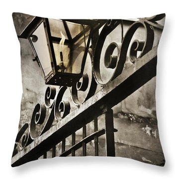 New Orleans Gaslight Throw Pillow by Beth Riser