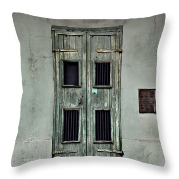 New Orleans Green Doors Throw Pillow