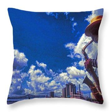 New Orleans Jazzman Throw Pillow by Dennis Cox