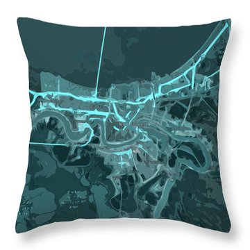 New Orleans Old Map Abstract Blue Throw Pillow