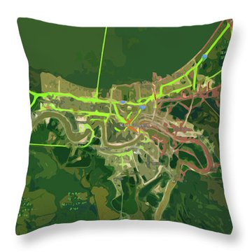 New Orleans Old Map Green Abstract Throw Pillow