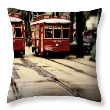 New Orleans Red Streetcars Throw Pillow by Perry Webster