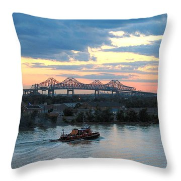 New Orleans Riverfront Throw Pillow