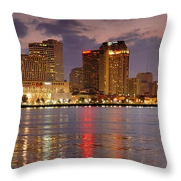 New Orleans Skyline At Dusk Throw Pillow by Jon Holiday
