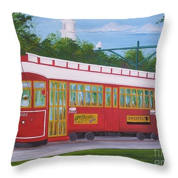 New Orleans Streetcar Throw Pillow
