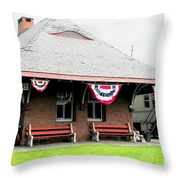 New Oxford Pennsylvania Train Station Throw Pillow