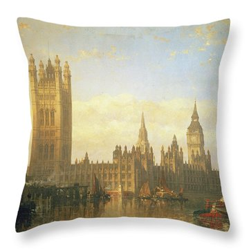 New Palace Of Westminster From The River Thames Throw Pillow by David Roberts
