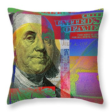 New Pop-colorized One Hundred Us Dollar Bill Throw Pillow
