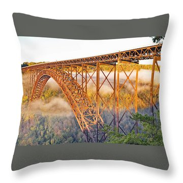 New River Gorge Bridge Morning Fall Panorama Throw Pillow