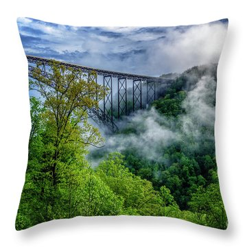 New River Gorge Bridge Morning  Throw Pillow