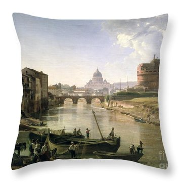 New Rome With The Castel Sant Angelo Throw Pillow by Silvestr Fedosievich Shchedrin