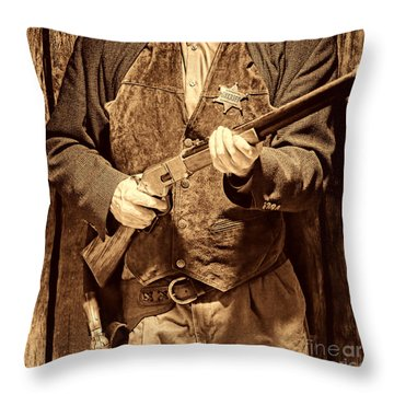 New Sheriff In Town Throw Pillow by American West Legend By Olivier Le Queinec