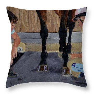 New Shoe Review Horse And Children Painting Throw Pillow by Patricia Barmatz