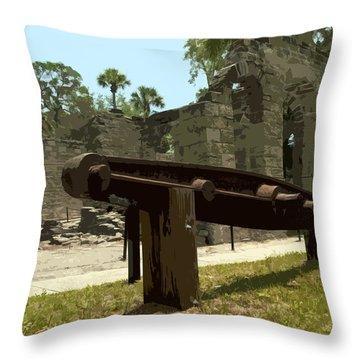New Smyrma Sugar Mill Throw Pillow by Allan  Hughes