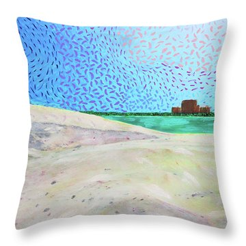 New Smyrna Beach As Seen From A Dune On Ponce Inlet Throw Pillow
