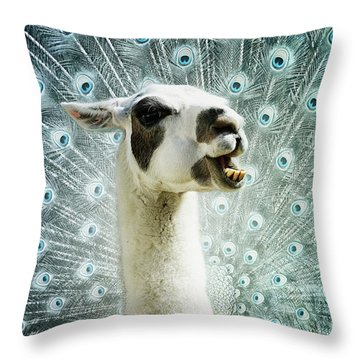 Throw Pillow featuring the mixed media New Species by Jutta Maria Pusl