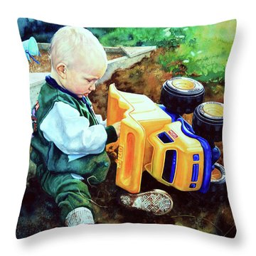 New Truck Throw Pillow by Hanne Lore Koehler